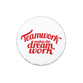 Teamwork makes the dream work red candy tins
