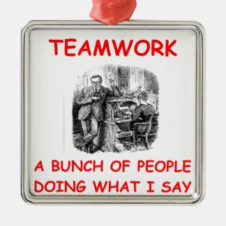 teamwork metal ornament