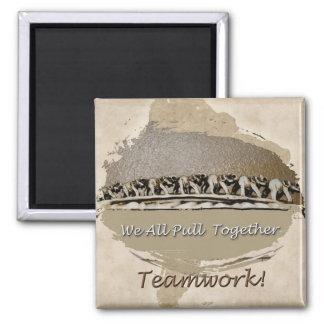 Teamwork White Elephants 2 Inch Square Magnet