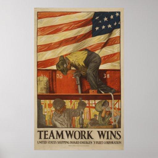 Teamwork Wins Poster