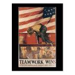 Teamwork Wins World War II Postcard