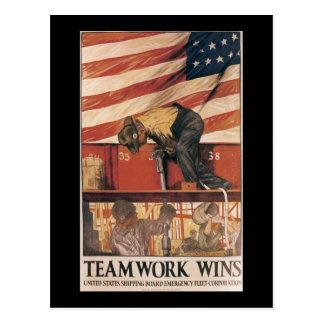 Teamwork Wins World War II Post Cards