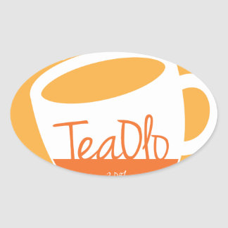 TeaOlo Brewing Smiles Orange Oval Sticker