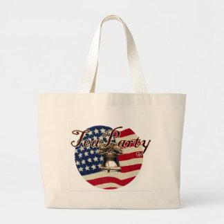 Teaparty Flag and Liberty Bell Jumbo Tote Bag