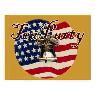 Teaparty Flag and Liberty Bell Postcard