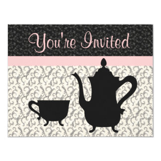Teapot and Cup on Fancy Background Card