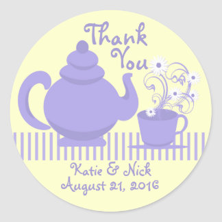 Teapot and Daisies Purple Round Stickers