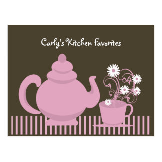 Teapot and Daisies Recipe Card Post Cards