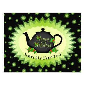 Teapot and Holly ChristmasTea Party Invitations