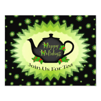 Teapot and Holly ChrisrmasTea Party Invitations