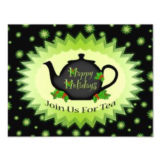 Teapot and Holly ChrisrmasTea Party Invitations