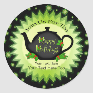 Teapot and Holly Christmas Tea Stickers