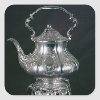 Teapot and kettle with lampstand and burner square sticker