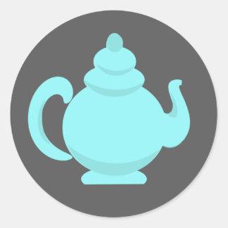 Teapot Aqua and Gray Classic Round Sticker