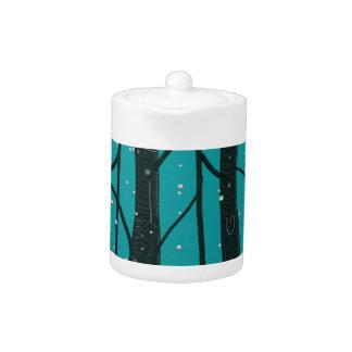 Teapot Black Trees Blue