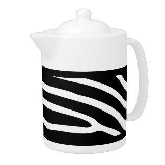 Teapot Black White Zebra Stripe Animal Print
