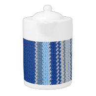 Teapot - Blue Stripes in Crochet