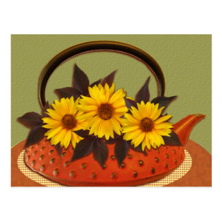 teapot bouquet postcard
