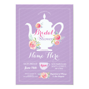 Teapot invitations announcements zazzle teapot bridal shower tea party purple invite filmwisefo Gallery
