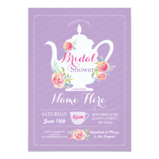 Teapot Bridal Shower Tea Party Purple Invite