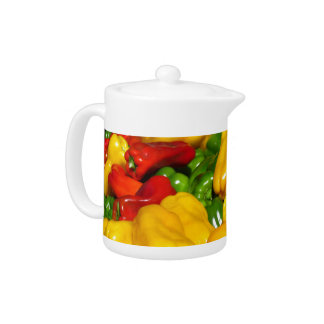 Teapot - Bright colored peppers