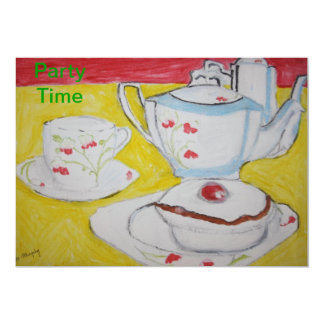 Teapot, Cup and Cake Party Time Invitation