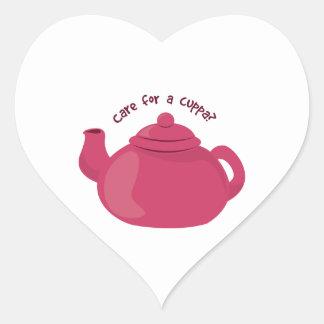 TeaPot_Cuppa Heart Stickers
