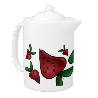 Teapot, Cute Painted Strawberry Illustration Teapot