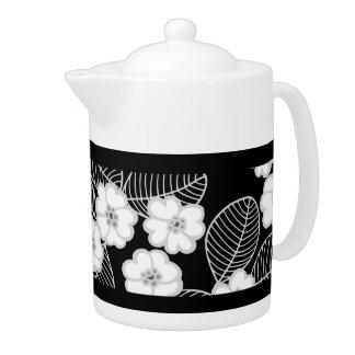 Teapot Damask Floral Gray Black White