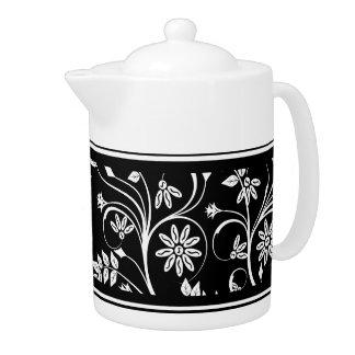 Teapot Damask Floral Gray Black White (2)