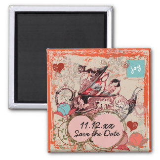 Teapot Fantasy Grunge Save the Date Magnet