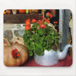 Teapot Filled With Geraniums Mouse Pads