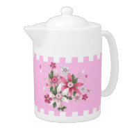 Teapot Floral Country Style Pink White Check