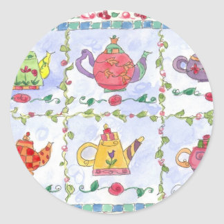 Teapot Flower Sampler Round Sticker