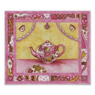 Teapot Gingerbread Country Quilt Art Poster