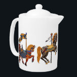 """Teapot LG - Carnival Horse Delight<br><div class=""""desc"""">The perfect, fun, nostalgia teapot! Four fantastic, high detail, old-fashion wooden carousel horses adorn this find product. TIP: Look for the matching Candy Jar in this same department. design by Joseph Maas Fun fact: Carousels descended from games of knightly skills from the Middle Ages when mounted knights tried to capture...</div>"""