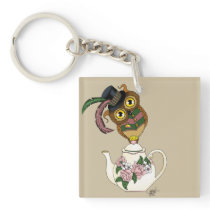 Teapot Owl Keychain