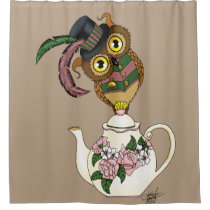 Teapot Owl Shower Curtain