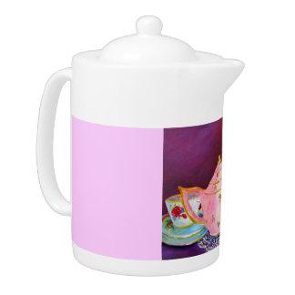 teapot, painting, teacups, lilac, violet, warm,