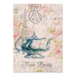 teapot paris eiffel tower vintage tea party 5x7 paper invitation card