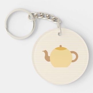 Teapot Picture in Neutral Colors. Double-Sided Round Acrylic Keychain