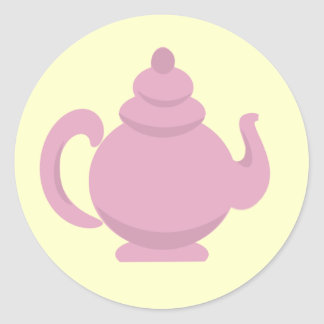 Teapot Pink and Yellow Round Stickers