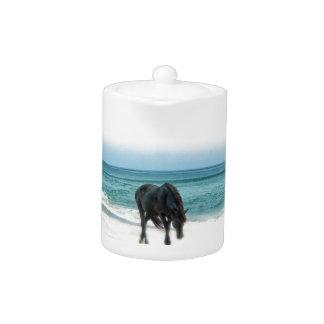 Teapot, porcelain, horse design, equestrian