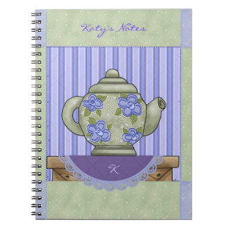 Teapot Quilt Square Personalized Notebook