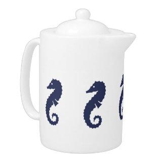 Teapot - Sea Horses (navy blue)