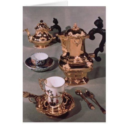 Teapot, sugar bowl, chocolate pot and mug greeting cards