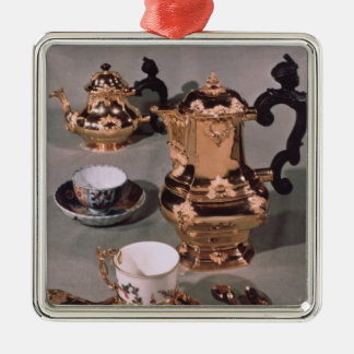 Teapot, sugar bowl, chocolate pot and mug metal ornament