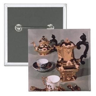 Teapot, sugar bowl, chocolate pot and mug pinback button