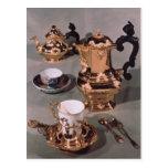 Teapot, sugar bowl, chocolate pot and mug post card