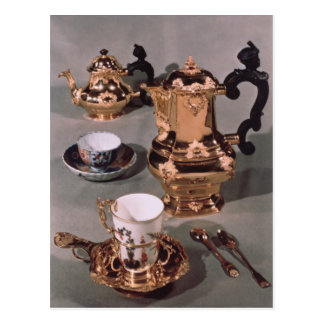 Teapot, sugar bowl, chocolate pot and mug postcard